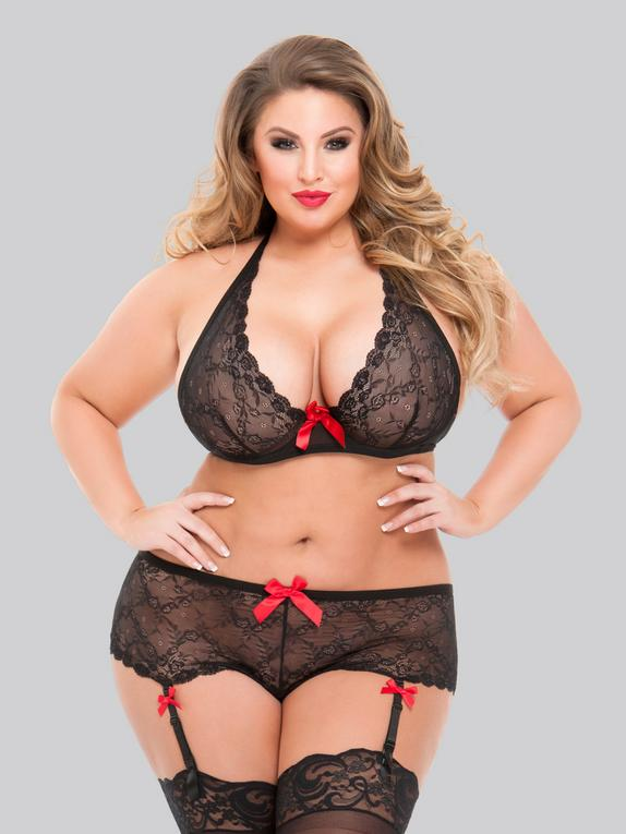 Lovehoney Plus Size Black Lace Underwired Bra and Shorts Set, Black, hi-res