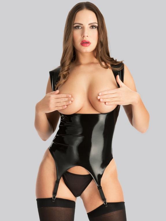 Easy-On Latex Under the Bust Merry Widow, Black, hi-res