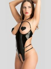 Easy-On Latex Open Cup Crotchless Teddy, Black, hi-res