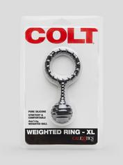 Colt Pure Silicone Stretchy Weighted Cock Ring, Black, hi-res