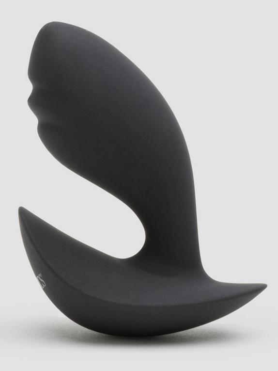 Booty Call Silicone Curved and Ridged Butt Plug, Black, hi-res