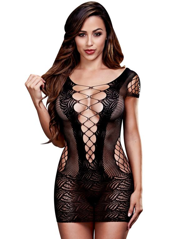 Baci Lingerie Corset Front Lace Mini Dress, Black, hi-res