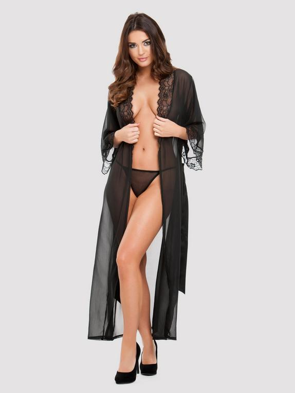 Lovehoney Barely There Long Sheer Black Robe, Black, hi-res