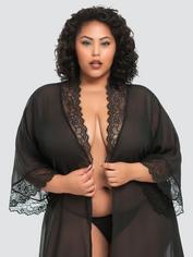 Lovehoney Plus Size Barely There Long Sheer Black Robe, Black, hi-res