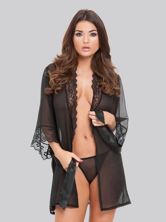 Lovehoney Barely There Sheer Black Robe, Black, hi-res