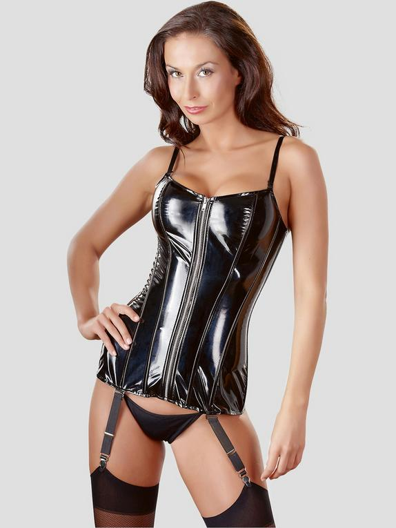 Black Level PVC Zip Up Corset with Suspenders, Black, hi-res