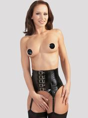 Black Level PVC Buckled Suspender Belt, Black, hi-res