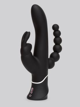 Vibromasseur rabbit courbé triple stimulation rechargeable, Happy Rabbit
