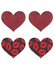 Peekaboos Premium Lipstick Kisses Heart Nipple Pasties (2 Pairs), Red, hi-res