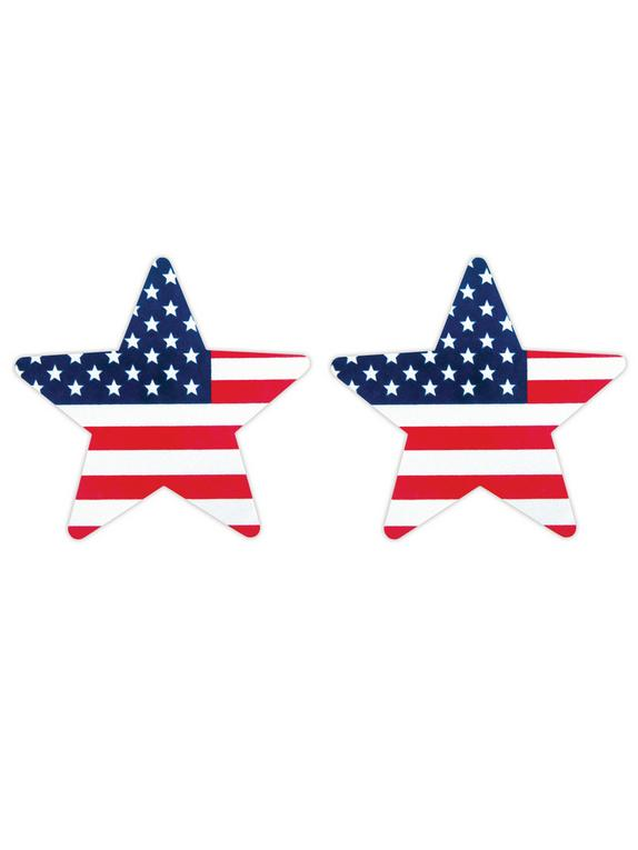 Peekaboos Stars and Stripes Nipple Pasties (2 Pack), Blue, hi-res