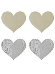 Peekaboos White Heart-Shaped Nipple Pasties (2 Pairs), White, hi-res