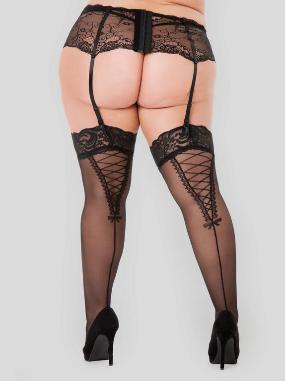 Lovehoney Plus Size Lace Up Detail Stockings, Black, hi-res