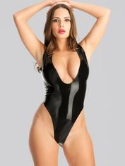 Rubber Girl Plunge Neck Crotchless Latex Teddy, Black, hi-res