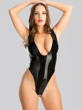 Rubber Girl Plunge Neck Crotchless Latex Teddy