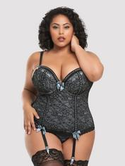 Lovehoney Plus Size Silver Push-Up Basque Set, Silver, hi-res