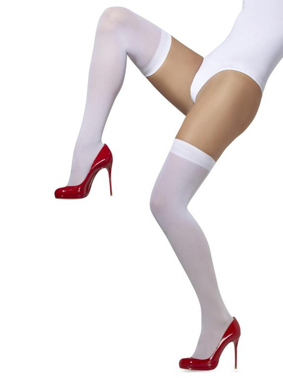 Fever Over The Knee Opaque Hold-Ups, White, hi-res