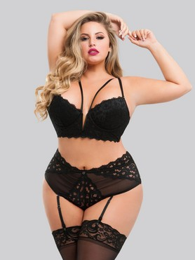 Lovehoney Plus Size Parisienne Black Longline Bra and Crotchless Thong Set