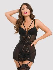 Lovehoney Parisienne Black Lace Plunge Chemise, Black, hi-res
