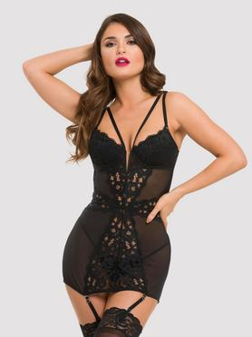 Lovehoney Parisienne Black Lace Plunge Chemise