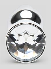 LuxGem Tapered Metal Jewelled Butt Plug 3.5 Inch, Silver, hi-res