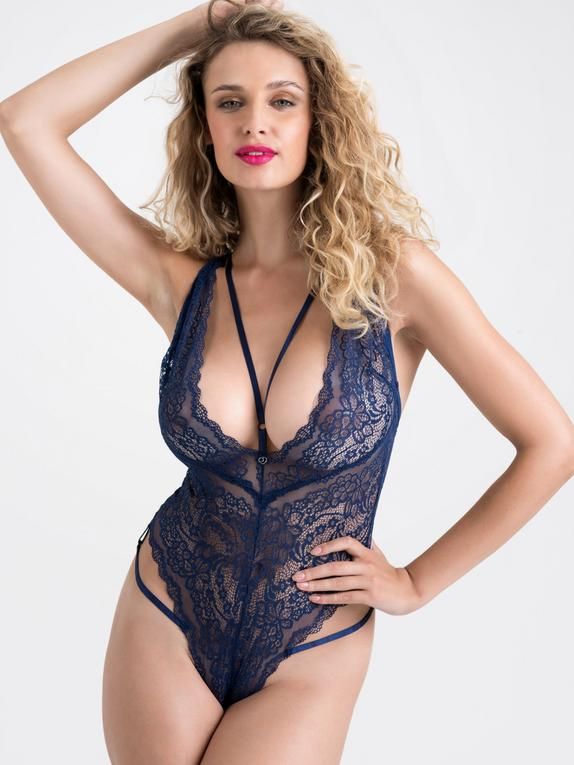 Lovehoney Late Night Liaison Blue Crotchless Lace Body, Blue, hi-res