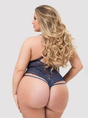 Lovehoney Plus Size Late Night Liaison Blue Crotchless Lace Body, Blue, hi-res