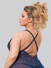 Lovehoney Late Night Liaison Blue Lace Babydoll Set, Blue, hi-res