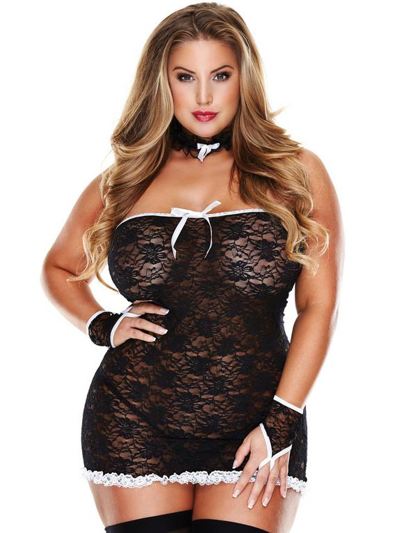 Baci Lingerie Plus Size Room Service French Maid Set, , hi-res