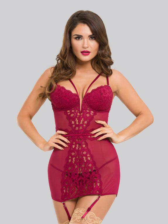 Lovehoney Parisienne Black Lace Plunge Chemise, Red, hi-res