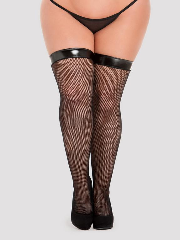 Lovehoney PVC Top Fishnet Stockings, Black, hi-res