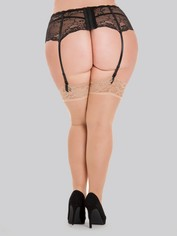 Lovehoney Sheer Black Lace Top Thigh High Stockings, Beige, hi-res