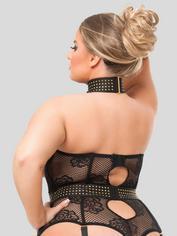 Lovehoney Plus Size Rendezvous Black Studded Open-Cup Body, Black, hi-res