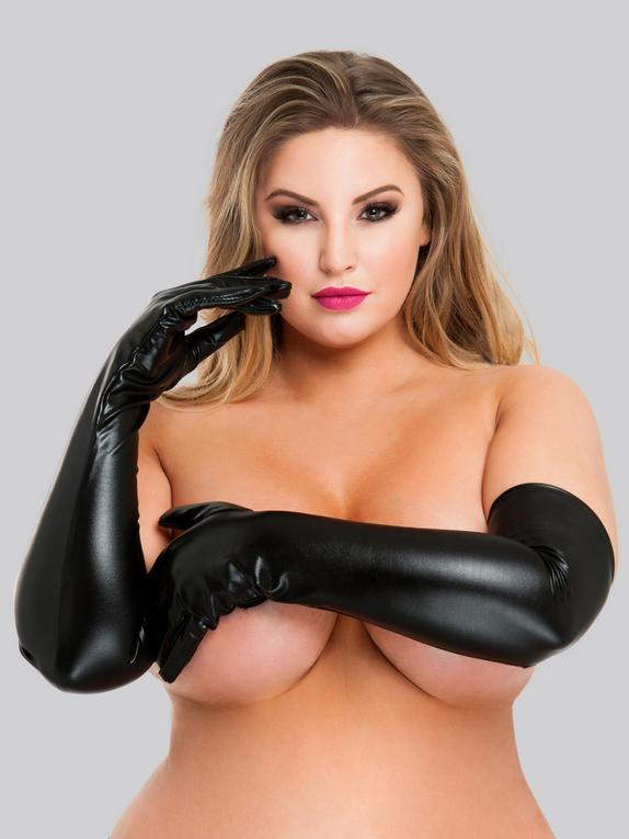 Lovehoney Black Wet Look Elbow-Length Gloves, Black, hi-res
