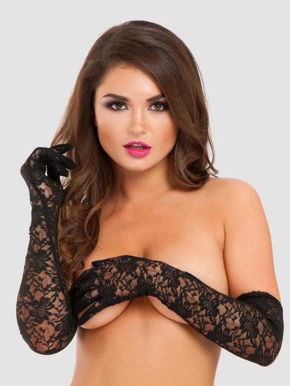 Lovehoney Black Elbow-Length Lace Gloves, Black, hi-res