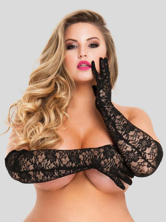 Lovehoney Black Elbow-Length Lace Gloves, Black, hi-res