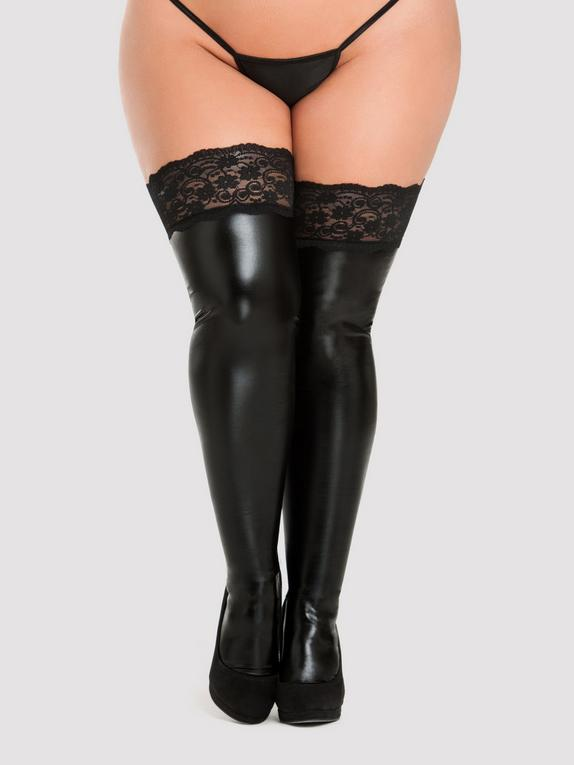 Lovehoney Black Wet Look Thigh Highs with Lace Tops, Black, hi-res