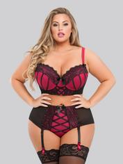 Lovehoney Plus Size Boudoir Belle Cherry Push-Up Longline Bra Set, Black, hi-res