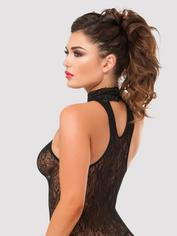 Lovehoney Black Lace Keyhole Front Mini Dress, Black, hi-res