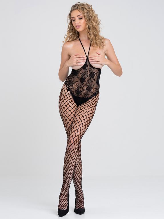 Lovehoney Treasure Chest Fishnet Crotchless Bodystocking, Black, hi-res