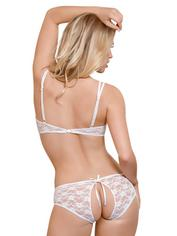 Exposed White Lace Peek-A-Boo Bra and Shorts Set, White, hi-res