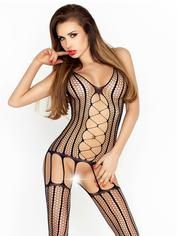 Passion Black Fishnet Suspender Bodystocking, Black, hi-res