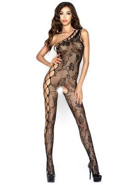 Passion Black Asymmetric Crotchless Lace Bodystocking