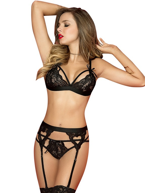 Mapale Sweetheart Black Lace Bra Set, Black, hi-res
