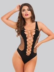 Lovehoney Black Deep Plunge Fence Net Teddy, Black, hi-res