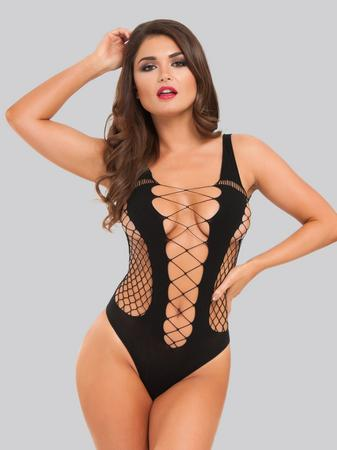 Lovehoney Black Deep Plunge Fence Net Teddy