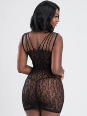 Lovehoney Black Leopard Lace Cut-Out Mini Dress, Black, hi-res