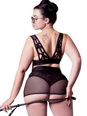 Brand X Dirty Rider Plus Size Bra and Crotchless Thong Skirt Set, Black, hi-res