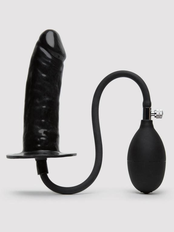 Cock Locker Inflatable Penis Butt Plug 6 Inch, Black, hi-res