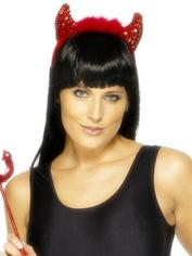 Fever Red Sequin Devil Accessories Set, Red, hi-res
