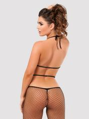 Lovehoney Ring It On Fishnet Cut-Out Crotchless Bodystocking , Black, hi-res